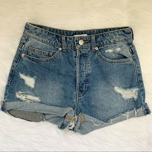 High Rise Destroyed Denim Jeans Shorts H&M